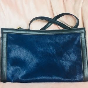 French Connection cobalt leather/calf hair clutch